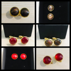 Red or Brown Gold Cufflinks