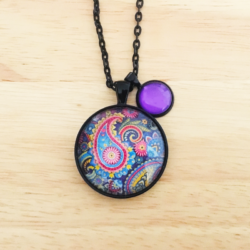 Handmade Dark Paisley Necklace with charm – FREE POSTAGE