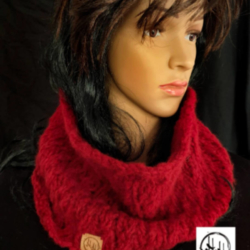 Hand Knit Snood / Cowl in Super Soft Wool & Alpaca blend in Rich Red