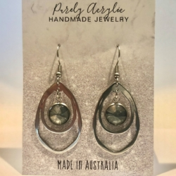 Grey, White and a Hint of Gold: Stainless Steel Drop Earrings
