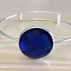 Blue or Red Faceted Gem Bangle -Silver