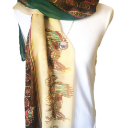 Horse and Carriage scarf with matching necklace set – FREE POSTAGE – 14 other designs available in our store.