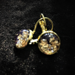 Gold Tone & Purple with Gold Foil / Glitter Leverback Earrings