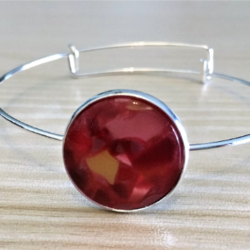 Faux Marble Gem Bangles -Silver – 6 Colours