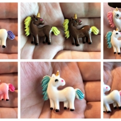 Multi Colour Unicorns with Golden Horn and Mane Badges / Pins / Brooches