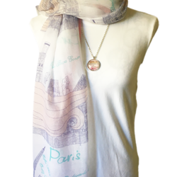 Paris themed scarf with matching necklace set – FREE POSTAGE