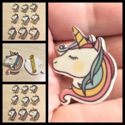 Rainbow and White Unicorn Head Badges / Pins / Brooches
