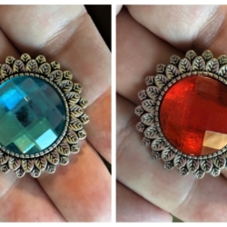 Flower with Red or Light Blue Gem Brooches / Shawl Pins / Badges