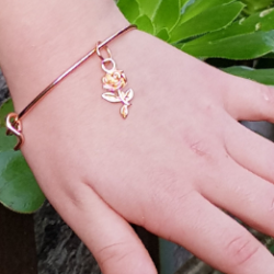 Rose Charm on Rose Gold Bangle – Child size