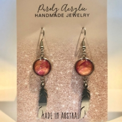 Rose Pink & Gold: Stainless Steel Feather Drop Earrings