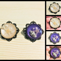 Pretty Pearlised Shell Brooches / Shawl Pins – 2 colours