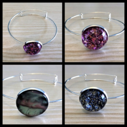 Pretty Silver Bangle with Bright Gems – 3 Styles