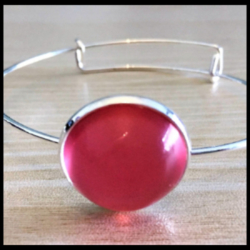 Pretty Silver Bangle with Bright Gems – 3 Colours