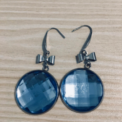 Pretty Faceted Bright Gems with Bows Earrings – Stainless Steel