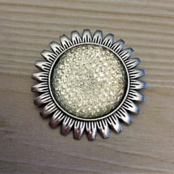 Sunflower with Iridescent White Gem Brooches / Shawl Pins / Badges – 2 styles