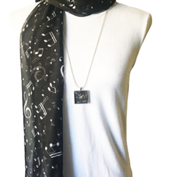 White musical notes scarf with matching necklace set – FREE POST – 14 other designs available in our store.
