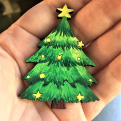 Christmas Tree Brooches / Shawl Pins / Badges