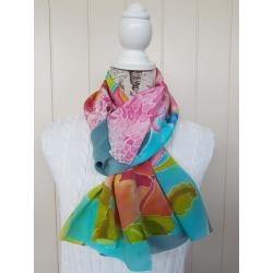 Handpainted silk scarf – Waratah flowers
