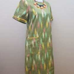 Handloom pure cotton dress – Olive