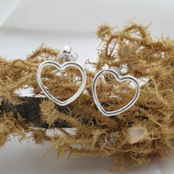 Sterling Silver Larger Heart Studs