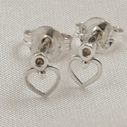 Sterling Silver Tiny Heart Studs