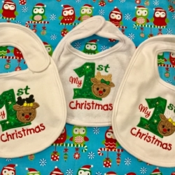 MY FIRST CHRISTMAS PERSONALISED BABY BIB REINDEER