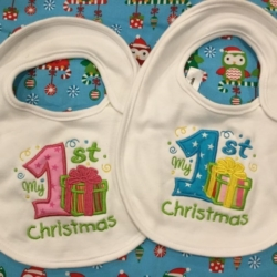 MY FIRST CHRISTMAS PERSONALISED BABY BIB PRESENT