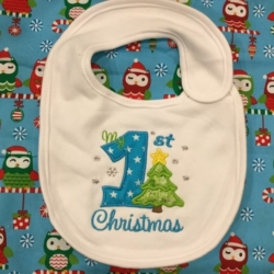 MY FIRST CHRISTMAS PERSONALISED BABY BIB TREE