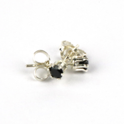Black Spinel tiny 3mm sterling silver stud earrings