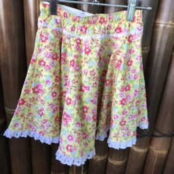Girl's cotton full circle skirts with drawstring elastic waistband. Size 8