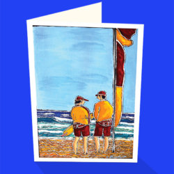 Swim Between the Flags greeting card by Australian artist Janet Besancon