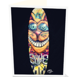 Smiling surfboard greeting card. Is that a Cheshire cat by artist Matt Tanner