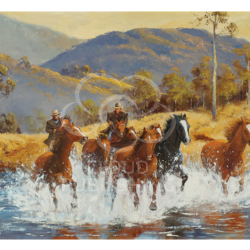 Brumby Horse Chase greeting card by Australian artist Peter Hill and published by Cloud Publishing