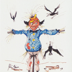 Scarecrow greeting card. Titled Go the Crows by Australian artist Peter Hill