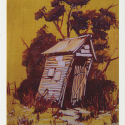 Leaning to the Left outhouse by larrikin Australian artist Peter Hill