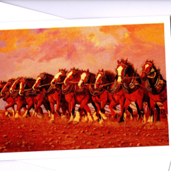 Twelve Clydesdale horses in a team ready to work by Australian artist Peter Hill