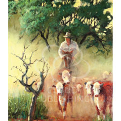 Stockman mustering hereford cattle by Australian artist Peter Hill