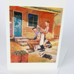 Outback barber greeting card by Australian artist Sima Kokaev