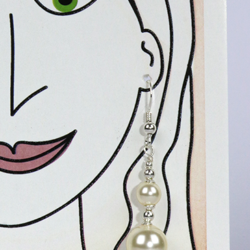 Jewellery on a greeting card ideal gift Sterling silver earrings with Swarovski simulated cream pearls