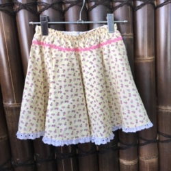 Girl's cotton full circle skirts with drawstring elastic waistband. Size 5