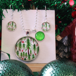 NEW RELEASE – Christmas Trees – Christmas Theme Necklace and Earrings – FREE POSTAGE – 13 other designs available.