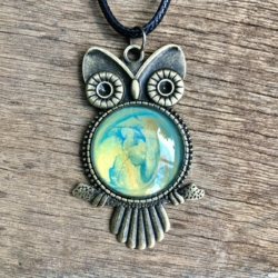 Green & Gold: Owl Pendant Necklace
