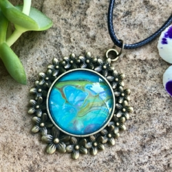 Blue: Floral Pendant Necklace