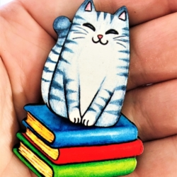 Cute Kitty Brooches / Pins / Badges – 2 styles