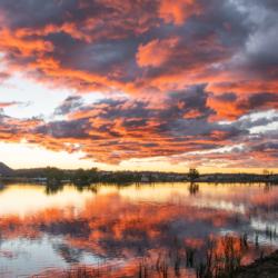 Photographic Wood Print – Sunset over Tenterfield Dam