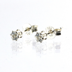 White Topaz tiny 3mm sterling silver stud earrings from Cloud Publishing