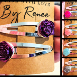 Pretty Pearlised Rose Hairclips – sold in pairs