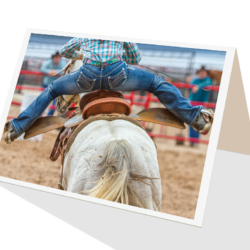 Horse barrel racing greeting card by Cloud Publishing