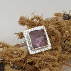 Sterling Silver Ring with Purple Tourmaline
