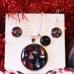 NEW RELEASE – Silver and Red Christmas Trees – Christmas Theme Necklace and Earrings – FREE POSTAGE – 13 other designs available.